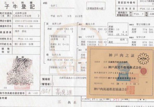 神戸牛証明書